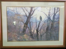Watercolor Of Lone Redtail Hawk Signed Charles Kello