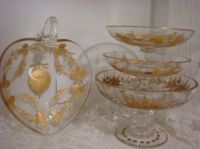 Moser Gilded Intaglio Nappy And Footed Dishes, 4 Pc: