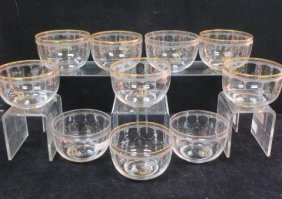 Clear Crystal Etched Finger Bowls, Possibly Baccarat: