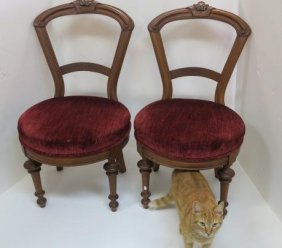 Pair Of Eastlake Walnut Framed Chairs Side Chairs;