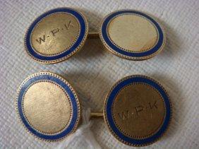 Pair Of 14kt Cobalt Blue Enameled Gold Cufflinks:
