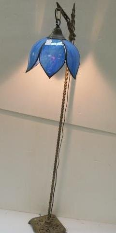 Art Deco Bridge Lamp With Blue Slag Glass Shade:
