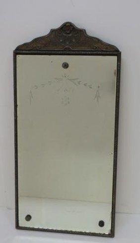 Vintage Framed Floral Etched Wall Mirror: