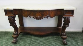 Ca 1850 Figural Mahogany Pier Table With Marble Top: