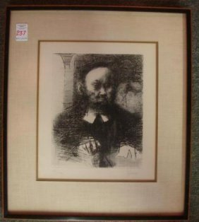 Signed J. Levine Male Portrait Etching: