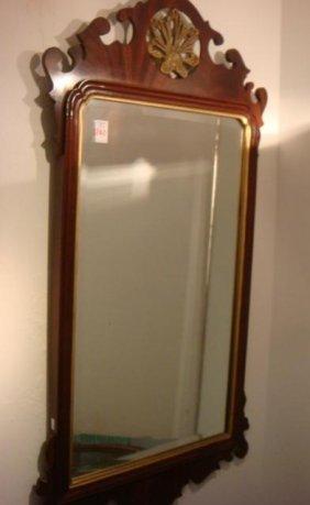 Mahogany Chippendale Beveled Wall Mirror: