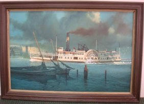 Jack Woodson Luray Riverboat Oil On Canvas: