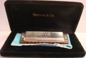 Tiffany & Co. Sterling Hohner Harmonica In Case: