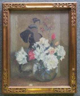 Geisha And Flowers Painting Signed Dorothy Ochtman: