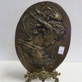 Bradley & Hubbard (unmarked)art Nouveau Bronze Plaque: