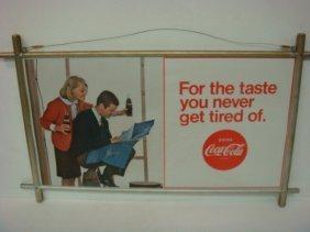 Framed Cardboard Coca-cola 1966 Advertisement: