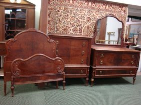 Berkey & Gay Figural Mahogany Three Piece Bedroom Set