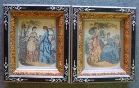 Pair Of Victorian Shadowbox Frames With Godey Prints: