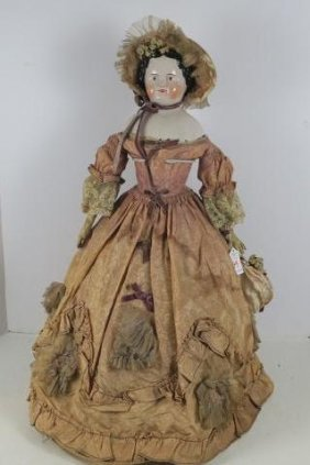China Head Doll With Leather Arms: