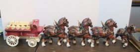Ceramic Budweiser Wagon And Seven Clydesdale Horses: