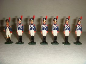 Seven Old Guard 54mm Hand Painted Model Soldiers: