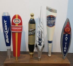 Six Beer Tap Handles On Wood Plaque: