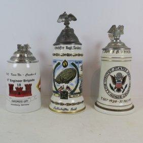 Three Us Military Beer Steins: