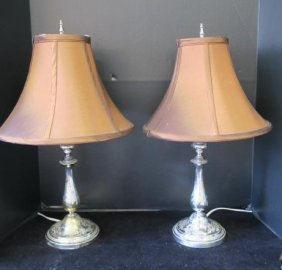 Pair Of Silver-plate Christofle Candlestick Lamps: