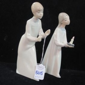 Lladro Boy And Girl With Candles: