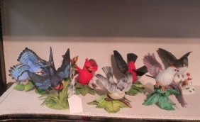 Seven Lenox Fine Porcelain Bird Figurines: