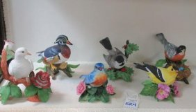 Six Lenox Fine Porcelain Bird Figurines: