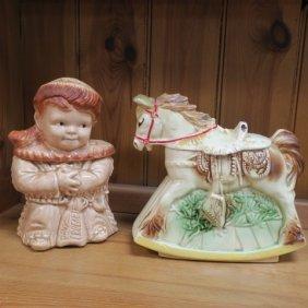 Vintage Cookie Jars Of Davy Crocket & A Rocking Horse: