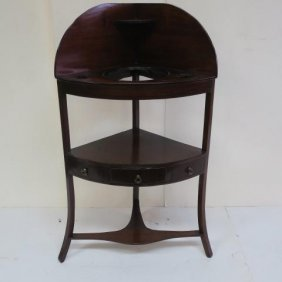 Hepplewhite Mahogany Corner Washstand: