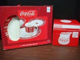 16 Piece Coca Cola Dinnerware Set, Ceramic Pitcher: