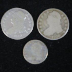 1830, 1831 Us Silver Half Dollars, 1834 Quarter Dollar