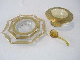 C93-25  GOLD TRIMMED DISH, LADLE & 3 PLATES