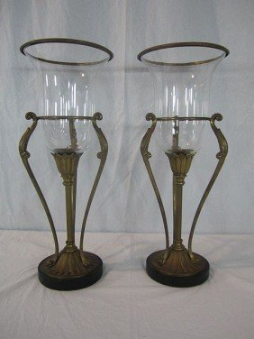 D56-5  PAIR OF BRASS & GLASS CANDLE HOLDERS
