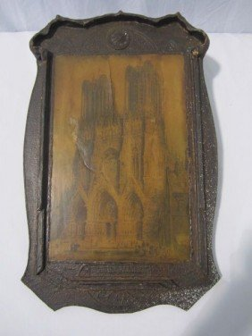 C85-1  FRENCH FRAME WITH NOTRE DAME PRINT