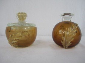 A44-152  PAIR OF MURANO DRESSER JARS