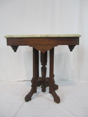 C11-8  EASTLAKE STYLE MARBLE TOP TABLE