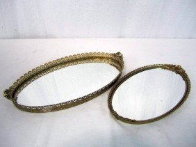 C98-7  LOT OF TWO OVAL VANITY MIRRORS