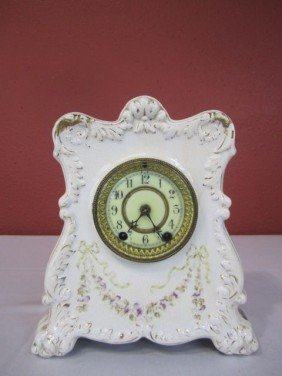 F24-3  WHITE FLORAL PORCELAIN CLOCK