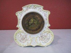F24-8  FLORAL PORCELAIN CLOCK