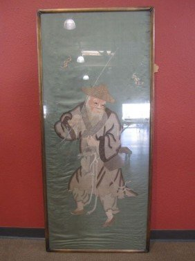A71-6  ANTIQUE FISHERMAN EMBROIDERY ON SILK