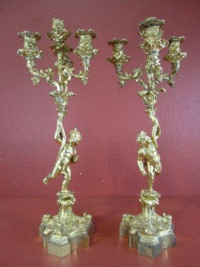 A55-4  PAIR OF FRENCH FIGURAL CANDELABRAS