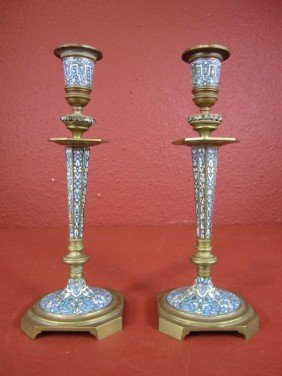 A55-16  PAIR OF FRENCH GILT BRONZE CANDLE STICKS
