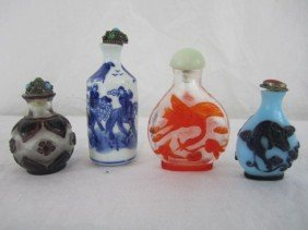 C96-1  LOT OF 4 SNUFF BOTTLES