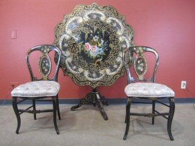 A11-35  PAPER MACHE TABLE WITH 2 CHAIRS