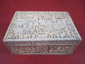 E22-25  CHINESE FINELY CARVED IVORY  BOX