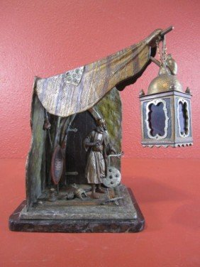 "A45-19  SIGNED VIENNA BRONZE ""WEAPON SELLER"" LAMP"