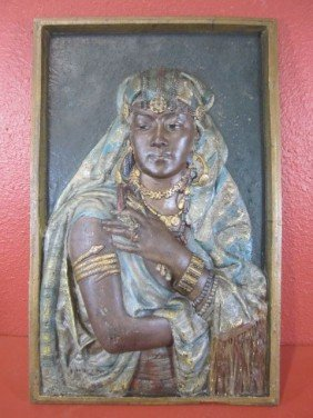 A45-24 SIGNED CAST IRON RELIEF OF CLEOPATRA