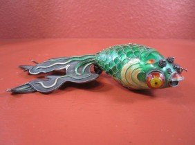 A11-79  CHINESE SILVER & ENAMEL FISH