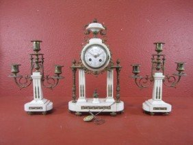 A11-152  FRENCH MARBLE & BRONZE 3PC CLOCK SET