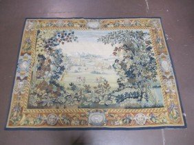 A11-157  SIGNED ANTIQUE FRENCH AUBUSSON TAPESTRY