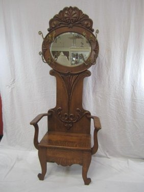 E33-4  OAK HALL BENCH WITH MIRROR